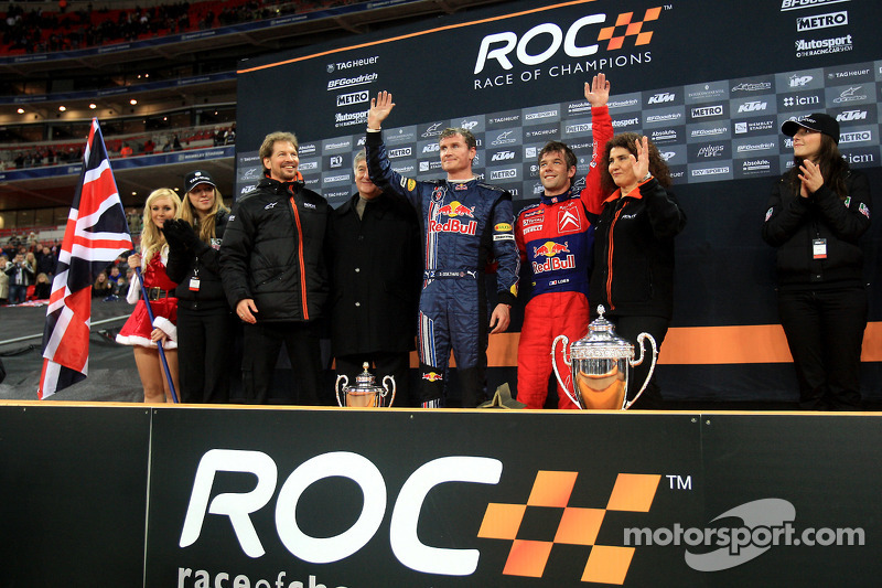 Podium: Race of Champions winner Sébastien Loeb and second place David Coulthard with organisers Frederik Johnson and Michèle Mouton