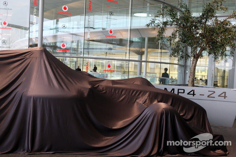 The new McLaren Mercedes MP4-24 under veil