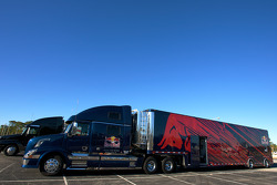 Red Bull Racing team hauler waits to enter the track in the staging area