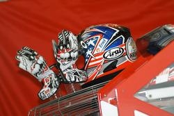 Hayden's helmet and gloves