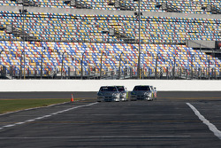 Hendrick Motorsports' 25th anniversary season car unveiling event: Dale Earnhardt Jr., Jimmie Johnson, Jeff Gordon and Mark Martin after their lap around the track