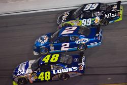 Jimmie Johnson, Kurt Busch and Carl Edwards race three-wide