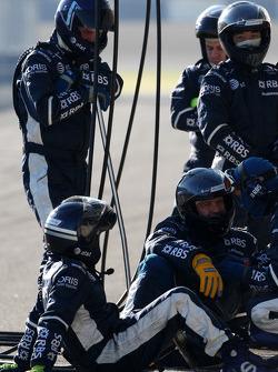 Williams F1 Team mechanics wait to practices pitstops