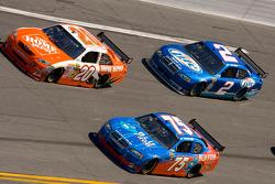 Joey Logano, Joe Gibbs Racing Toyota, Derrike Cope, Cope/Keller Racing Dodge, Kurt Busch, Penske Racing Dodge
