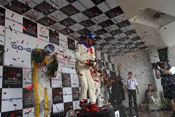 Podium: race winner Neel Jani, second place Felipe Guimaraes, third place Clivio Piccione