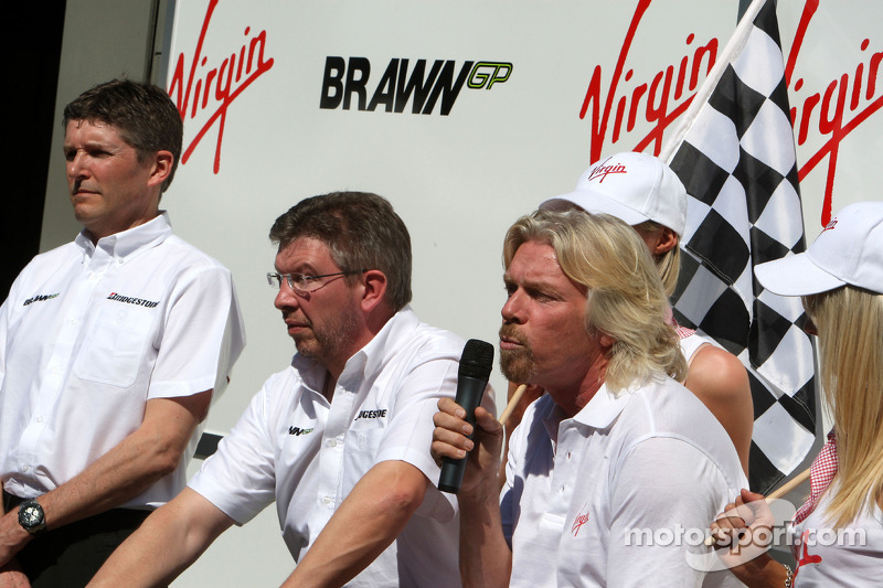 Nick Fry, BrawnGP, Chief Executive Officer, Ross Brawn Brawn GP Team Principal, Sir Richard Branson CEO of the Virgin Group makes and announcement regarding the Virgin sponsorship deal with Brawn GP