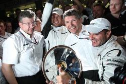 Ross Brawn Brawn GP Team Principal, Jenson Button, Brawn GP, Nick Fry, BrawnGP, Chief Executive Officer, Rubens Barrichello, Brawn GP, celebrate the teams win