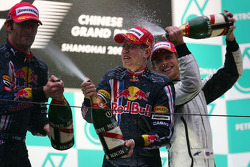Podium: champagne for race winner Sebastian Vettel, Red Bull Racing, second place Mark Webber, Red Bull Racing, third place Jenson Button, Brawn GP