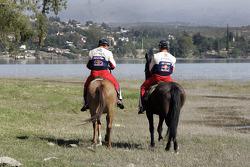 Sébastien Loeb and Daniel Elena horse ride