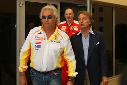 Luca di Montezemolo, Scuderia Ferrari, FIAT Chairman and President of Ferrari and Flavio Briatore, Renault F1 Team, Team Chief, Managing Director