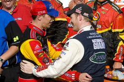Victory lane: race winner Brad Keselowski, Phoenix Racing Chevrolet celebrates with Dale Earnhardt Jr., Hendrick Motorsports Chevrolet