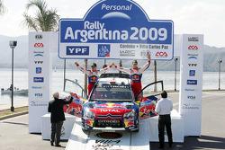 Podium: second place Daniel Sordo and Marc Marti, Citroen C4 Citroen Total World Rally Team