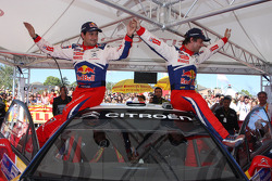 Winners Sébastien Loeb and Daniel Elena, Citroen C4, Citroen Total World Rally Team, celebrate