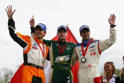 2nd place Jeroen Bleekemolen, driver of A1 Team Netherlands with Adam Carroll, driver of A1 Team Ireland and Neel Jani, driver of A1 Team Switzerland
