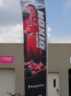 Scott Dixon, Target Chip Ganassi Racing has his banner outside his garage