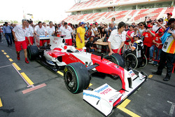 A Toyota in the pitlane