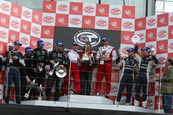 GT1 podium: class and overal winners Karl Wendlinger and Ryan Sharp, second place Michael Bartels an
