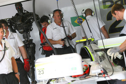 Rubens Barrichello, Brawn GP with Terminator in the garage