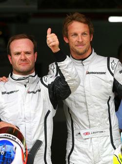 Rubens Barrichello, Brawn GP with pole winner Jenson Button, Brawn GP