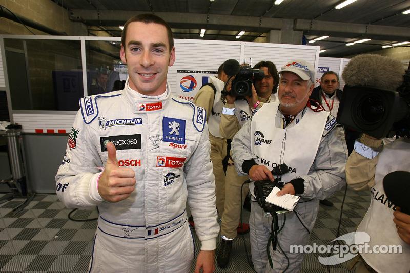 Pole winner Simon Pagenaud celebrates