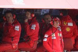 Michael Schumacher, Test Driver, Scuderia Ferrari watches from the Ferrari pit gantry