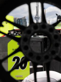 The CN tower through a wheel
