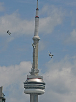 CF18 flyover around the CN Tower