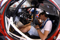 Marcus Gronholm gets his Ford Fiesta the way he likes prior to practice for the Pikes Peak Hillclimb