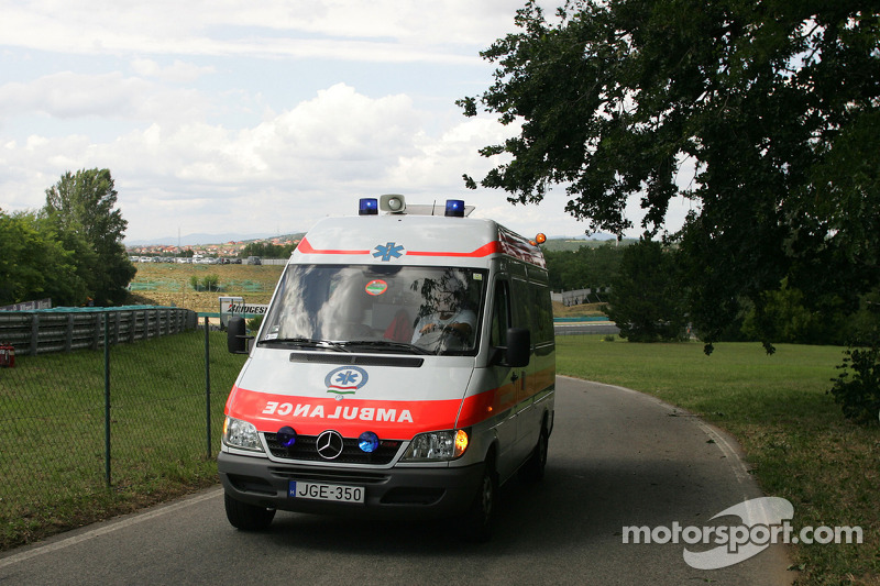Felipe Massa is taken to the track medical center after his crash