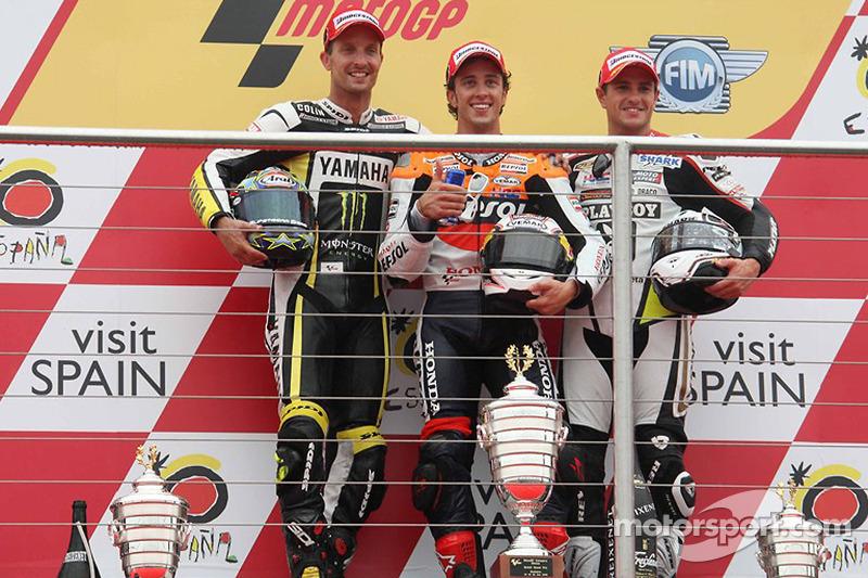 2009: 1. Andrea Dovizioso, 2. Colin Edwards, 3. Randy de Puniet