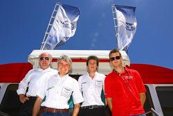 David Richards pose with Paul Drayson, Jonny Cocker and Leo Mansell