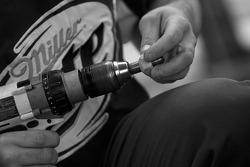Penske Racing Dodge crew member prepares the wheels