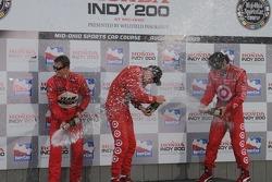 Podium: winner Scott Dixon, second place Ryan Briscoe, third place Dario Franchitti