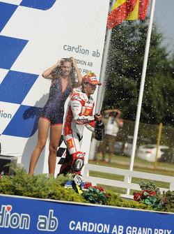 Podium: third place Toni Elias, San Carlo Honda Gresini