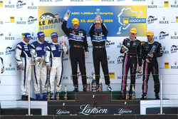 LMP2 podium: class winners Miguel Amaral and Olivier Pla, second place Filippo Francioni, Andrea Cec