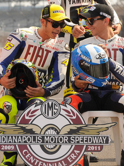 Valentino Rossi, Fiat Yamaha Team and Jorge Lorenzo, Fiat Yamaha Team at the Indianapolis Motor Speedway 100th anniversary photo shoot