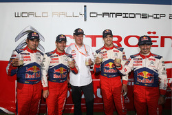 Provisional winners and final second Sébastien Loeb and Daniel Elena, third place Daniel Sordo and Marc Marti, celebrate with Citroen boss Olivier Quesnel