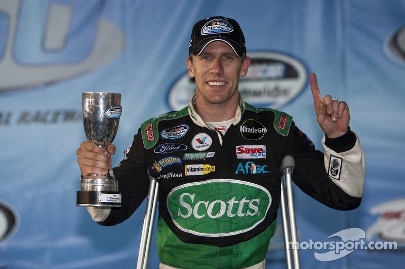 Victory lane: race winner Carl Edwards