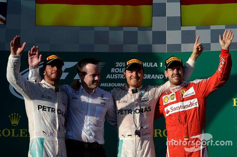 1. Nico Rosberg, 2. Lewis Hamilton, 3. Sebastian Vettel