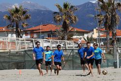 Marco Wittmann, Antonio Felix da Costa, Bruno Spengler,Timo Glock, Tom Blomqvist und Augusto Farfus, Beach Soccer