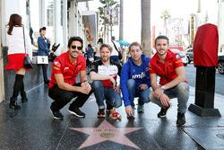 Daniel Abt, Lucas di Grassi, ABT Schaeffler Audi Sport, Nick Heidfeld, Mahindra Racing, et Robin Frijns, Amlin Andretti Formula E Team sur la Walk of Fame