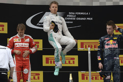 Podium: winner Nico Rosberg, Mercedes AMG F1 Team, second place Sebastian Vettel, Ferrari, third place Daniil Kvyat, Red Bull Racing