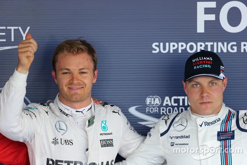 Nico Rosberg, Mercedes AMG F1 Team, e Valtteri Bottas, Williams