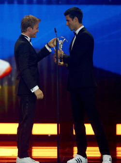 Nico Rosberg, Mercedes AMG F1 Team congratulates Novak Djokovic, Laureus World Sportsmen of the Year Award winner Tennis player