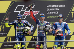 Podium: winner Jorge Lorenzo, Yamaha Factory Racing, second place Valentino Rossi, Yamaha Factory Racing, third place Maverick Viñales, Team Suzuki MotoGP