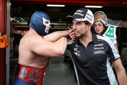 Sergio Perez, Sahara Force India F1 with Blue Demon Jr., Luchador and Wrestler