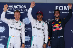 Pole for Lewis Hamilton, Mercedes AMG F1 W07 , 2nd for Nico Rosberg, Mercedes AMG Petronas F1 W07 and 3rd for Daniel Ricciardo, Red Bull Racing RB12