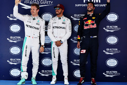 Pole for Lewis Hamilton, Mercedes AMG F1 W07, 2nd for Nico Rosberg, Mercedes AMG F1 W07 and 3rd for Daniel Ricciardo, Red Bull Racing RB14