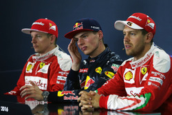Conferenza stampa Fia post gara: Kimi Raikkonen  Ferrari, secondo; Max Verstappen, Red Bull Racing, primo; Sebastian Vettel, Ferrari, terzo