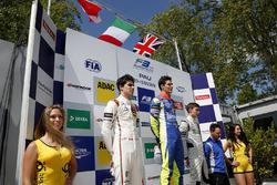 Podium: peringkat kedua Lance Stroll, Prema Powerteam Dallara F312 窶�Mercedes-Benz;Pemenang Alessio Lorandi, Carlin Dallara F312 窶�Volkswagen; peringkat ketiga George Russell, HitechGP Dallara F312 窶�Mercedes-Benz